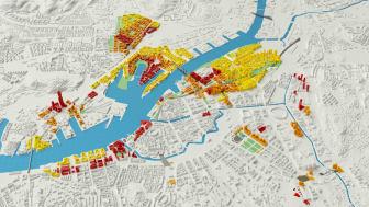 Älvstaden-området kring älvstränderna i Göteborg. Det röda byggs först, det gula i senare skede.