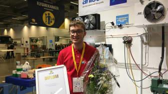 Simon Niklasson, svensk mästare i kyl- och värmepumpteknik 2016