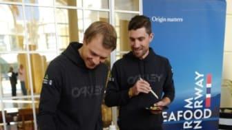Edvald Boasson Hagen og Bernard Eisel under pressekonferansen i Cape Town