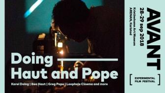 Affisch för filmfestivalen AVANT- Doing Haut and Pope. Loophole Cinema and more. 28-29 september.