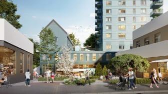 Skiss på Brf Utsikten med ny torgyta med kontor och restaurangbyggnad.