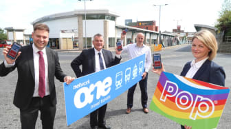 (L-R) Martijn Gilbert chair of NEbus, Cllr Gannon chair of the North East Joint Transport Committee and leader of Gateshead Council, Steve Walker chair of Network One, and Kerry Leng head of marketing, communications and information at Nexus