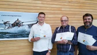 Mads Munksgaard Pedersen, maskinchef, 'Esvagt Bergen', Niels Høgh Johansen, skipper, 'Esvagt Protector', Preben Andersen, overstyrmand, 'Esvagt Christina' fik alle tre udbytte med fra ESVAGT Leadership Education.