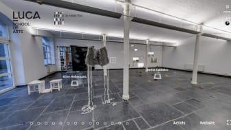 """LUCA School of Arts opent virtueel alle campussen met een unieke 360° tour, inclusief de virtuele tentoonstelling """"De Nabije Toekomst"""" in samenwerking met GC De Markten."""