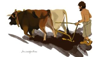 Artistisk tolkning av en iberisk neolitisk jordbrukare.  Illustration: Maria de la Fuente (Maria de la Fuente Archaeological Illustrations)