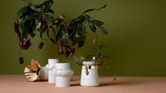 Rosenthal Vasen Ode (Mitte) umrahmt von Falda und Collana.