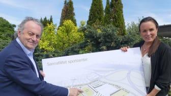 Per-Samuel Nisser (M) och Linda Larsson (S) presenterar de nya arenaplanerna i Karlstad.