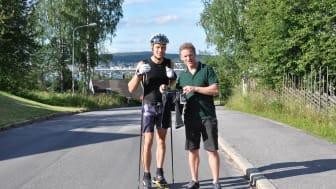 NY SPORTINNOVATION: Överläkaren Fredrik Lundh är också entreprenör och har tagit fram höftskydd i form av en byxa. Skidåkaren Anders Svanebo har hjälpt till med utvecklingsarbetet.