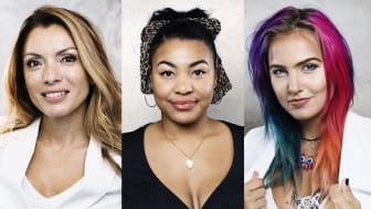 Alexandra Pascalidou, Fanna Ndow Norrby och Linnéa Claeson är alla goodwillambassadörer för Kvinna till Kvinna.
