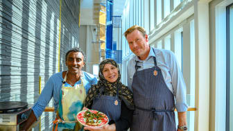 Marcus Samuelsson Creative Chef för Eatery Social, Mona Madhi från YallaTrappan, Jens Lyckman från Clarion Malmö Live