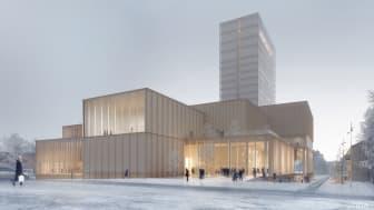 Skellefteås kommande kulturhus norrifrån. Illustration: White Arkitekter AB.