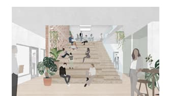 Illustration av Byggarnas Hus gjord av Strategisk Arkitektur.