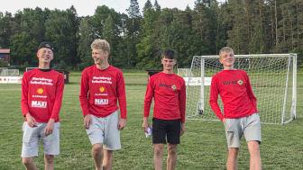 Mariebergs fotbollsskola, från vänster: Casper Widell, Arvid Bertilsson, Jonathan Gullö och Noel Henningson. Foto: privat.