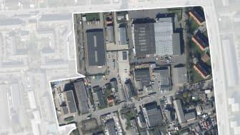Sådan ser området ud i dag - det er primært et erhvervsområde. Planen er at omdanne det til et attraktivt og levende bykvarter, der samtidigt er grønnere.