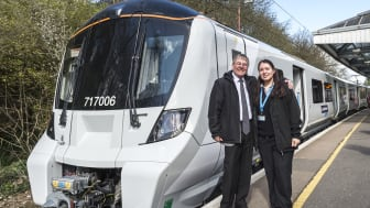 Old and new: Retired driver Ian Twells and modern day driver Zornitsa Tsankova at the launch of the new Moorgate train