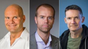 Från vänster: Tomas Sjögren, professor i nationalekonomi; Mattias Lundberg, universitetslektor vid Institutionen för psykologi och Jesper Enbom, universitetslektor vid Institutionen för kultur- och medievetenskaper. Bild: Mattias Pettersson