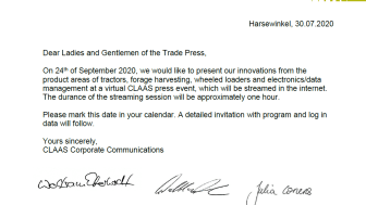invitation virtual CLAAS press event