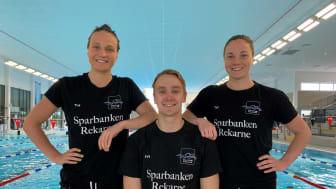Anna Eriksson, Lisa Eriksson och Karl Lindoff från Eskilstuna Simklubb