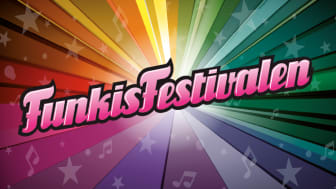Logga Funkisfestivalen i ett spektrum av färger.