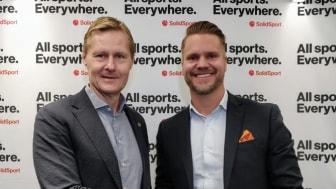 Svenska handbollförbundet och Solidsport förlänger samarbetet.  Bilden: Robert Wedberg (vänster), Tobias Thalbäck (höger).