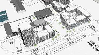 På skissbilden syns de tre kvarter som ingår i detaljplanen, och som möjliggör för fler bostäder och verksamhetslokaler. Det är i kvarteret till höger, som det planeras för vårdcentral, vårdboende samt hyresrätter. (Skiss: White arkitekter)