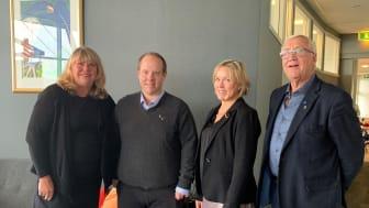 Näringslivschef Petra Forsström, kommunstyrelsens ordförande Andreas Sjölander (S), Svenskt Näringslivs regionchef Anna Hedensjö Johansson och majoritetsföreträdare Ingemar Wiklander (KD) vid presentationen av företagsrankingen i Västernorrland 2021.