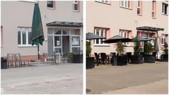 Links: Abgenutzt und ungemütlich. Rechts: Ansprechend und einladend. Der Hof der HdWM vor und nach der Verschönerung durch HORNBACH.