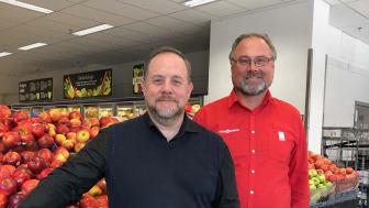 Oskar Lärn, VD på Eminent Reklambyrå och Per Tengberg, handlare på ICA Malmborgs Caroli och ordförande i Malmborgsgruppen.