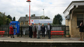 Celebrating the heritage makeover of Downham Market station with (L-R) Chris Green, Colin Sampson, Andrew Sidgwick, Liz Truss and Graeme Pratt