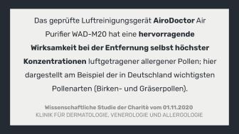 Wissenschaftliche Studie der Charitè zum AiroDoctor WAD-M20