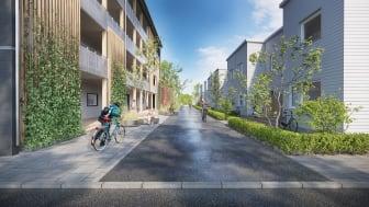 Visionsbilder av de kommande BoKlok-kvarteren på Drottninghög i Helsingborg. Till vänster flerfamiljshus med lägenheter och till höger radhus. Observera att avvikelser kan förekomma i slutgiltig bebyggelse. Illustration: Tengbom arkitektkontor.