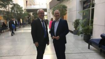 Schirmherr Werner Kuhn, MdEP mit Scandlines' CEO Søren Poulsgaard Jensen im Europäischen Parlament