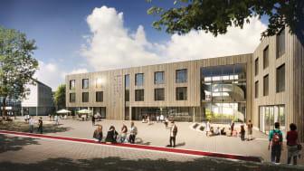 Campusplatz und Haupteingang Neubau Universität Witten/Herdecke (Copyright: Björn Rolle)