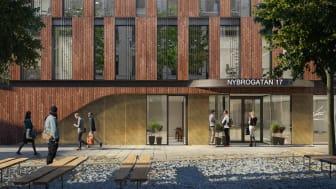 FM Global Insurance har valt att teckna avtal avseende nya lokaler i Humlegårdens fastighet på Nybrogatan 17 i Stockholm. Illustration: Tmrw