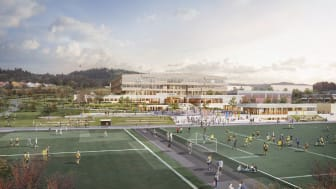 Norges mest energieffektive skole, nye Heimdal videregående i Trondheim, er ett av 67 prosjekter som Enova støttet i Sør-Trøndelag i fjor (Ill.: Skanska/Rambøll).