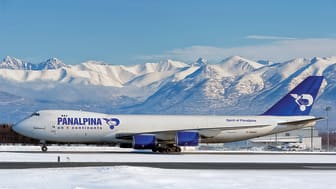 No stranger to Alaska: Panalpina's 747-8F usually operates on the transatlantic route, but here it was captured during a technical stop at Anchorage airport. (Photo by Angelo Bufalino)