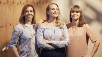 Maria Soxbo, Emma Sundh och Johanna Nilsson, grundare av Klimatklubben och författare till Klimatasken – stora förändringar i litet format (Novellix, 2020).