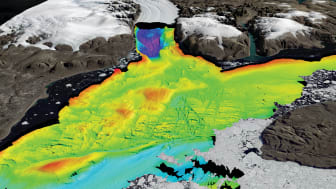 Data from the Petermann Fjord northwest Greenland. Collected using EM 122 and EM2040. Depth 100m to over 1200m. (The EM 122 will be installed on RRS Sir David Attenborough). Image courtesy Martin Jakobsson Stockholm University