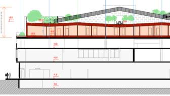 En förskola, förskolegård och bostäder byggs ovanpå huset på Södervärn, som idag rymmer Lidl och parkering.