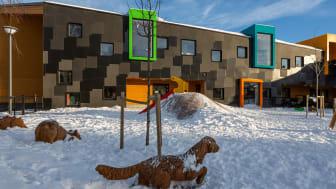 Kilden barnehage på Årvoll i Oslo, tegnet av LINK arkitektur, er nominert til Årets bygg.  Foto: Tove Lauluten/FutureBuilt.