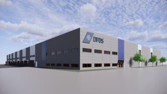 DFDS Logistics visionsbild över storsatsningen på toppmodernt logistikcenter i Karlshamn.