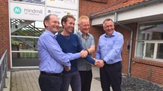 Fra venstre: Erik Hagen, styreleder EcoOnline, Henrik Stig Andersen, utviklingssjef i ProOffice-gruppen, Per Mølgaard Thorsen,  CFO i ProOffice-gruppen, og Øyvind Thorsen CEO I EcoOnline