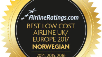 Norwegian honored as the Best Low Cost Airline in Europe by AirlineRatings.com for the fourth year in a row