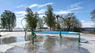 Det nya splashområdet för barn på utebadet vid Lögarängsbadet.