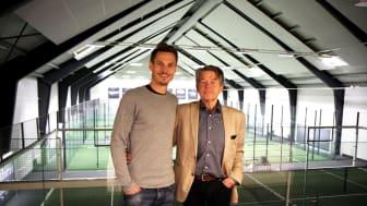 Erling Pålsson och Markus Rosenberg valde Skånska Energilösningar som totalleverantör för Padel Court No 9 i Höllviken.