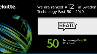 Beatly på plats 12 i Fast 50 snabbast växande företag enligt Deloitte