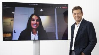 Hege Skryseth, Kongsberg Digital and Cristian Corotto, ABB Turbocharging, digitally shake hands