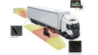 Die Scania Seiten- und Rückfahrassistenten warnen den Lkw-Fahrer und sollen Fahrradfahrer, Fußgänger, Motorradfahrer und Pkw-Fahrer schützen.