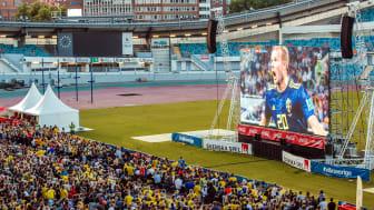 Över 50 000 besökare kom till Ullevi för att se Sveriges matcher i VM på storbild.