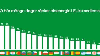 Staplarna visar hur många dagar bioenergin räcker för att klara energiförsörjningen i respektive land. I Sverige 132 av årets 365 dagar. I Malta bara 4 dagar.